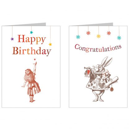 'Alice in Wonderland' 2 greetings card pack