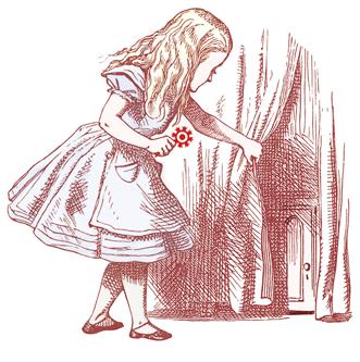 Alice in front of small door